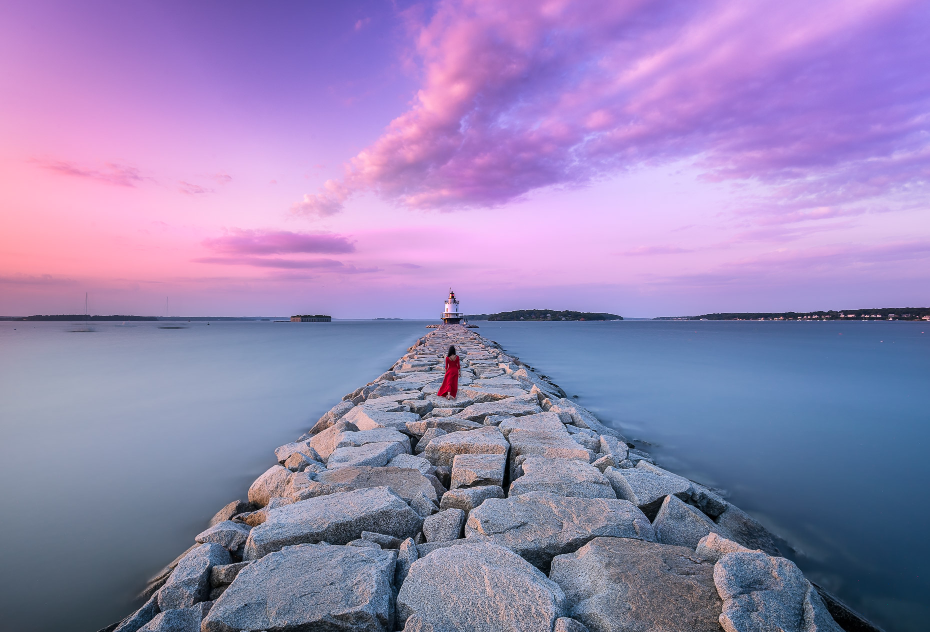 Lady in Red, Spring Point Lighthouse