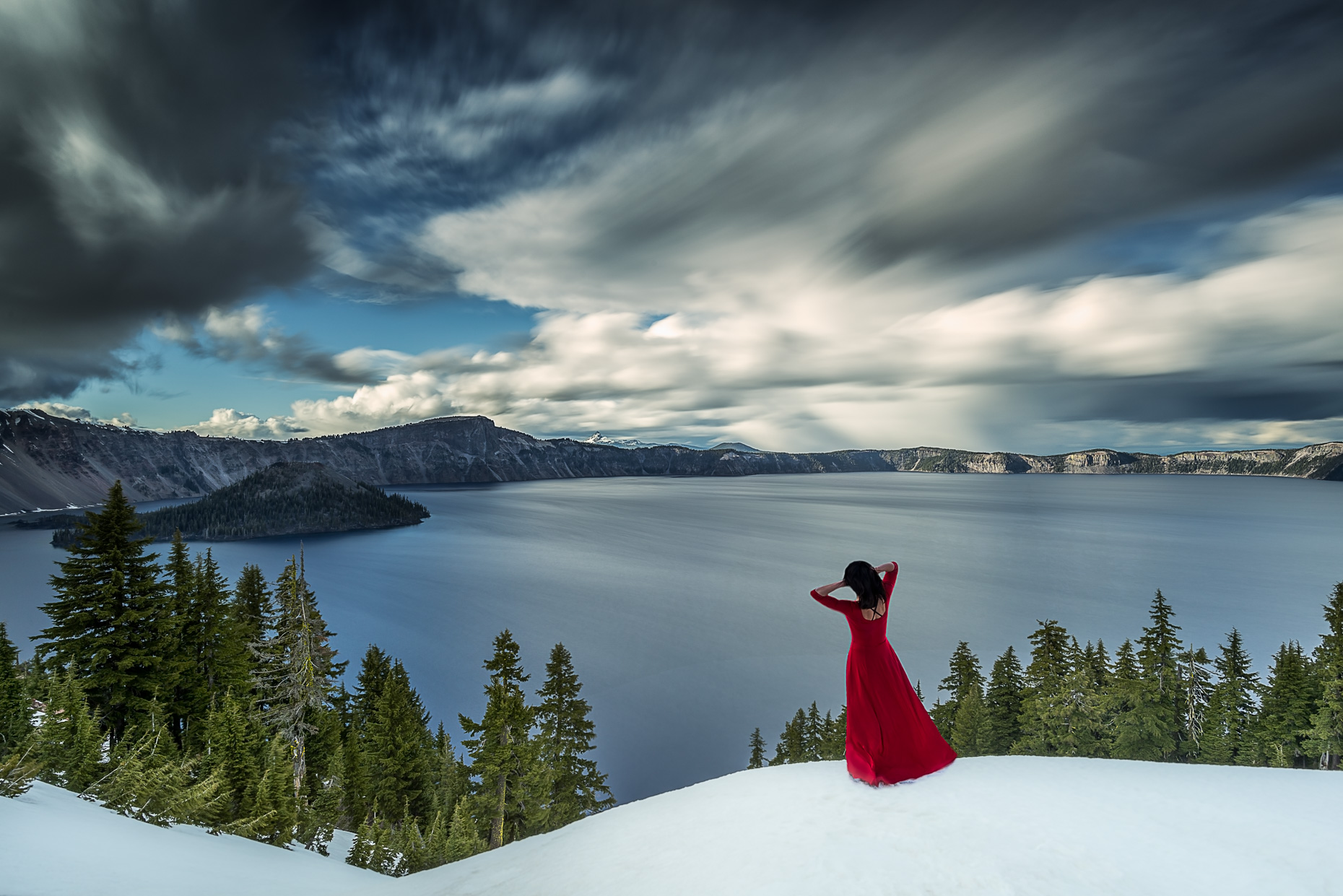 Lady in Red, Crater Lake